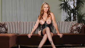 Office babe Julia Ann demonstrates her milf ass and big tits