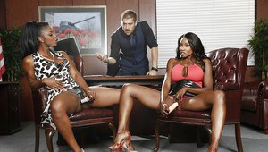 Office threesome with Ebony chicks Diamond Jackson and Jasmine Webb