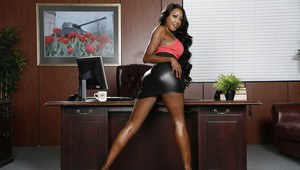 Ebony babe Diamond Jackson undressing her tight black skirt