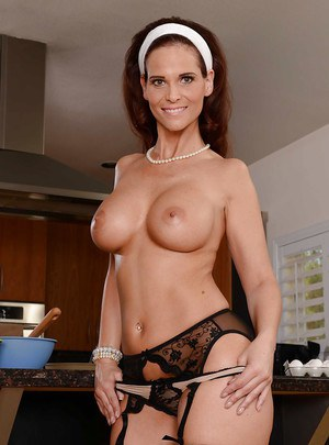 Undressing action with a mature mom Syren De Mer in her stockings
