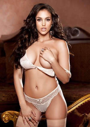 Centerfold babe with big tits Jaclyn Swedberg shows off in lingerie