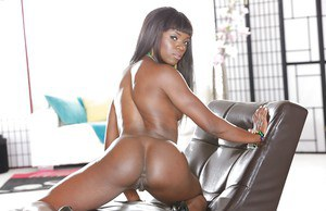 Ebony babe with tiny tits and tight ass Ana Foxxx shows off in high heels