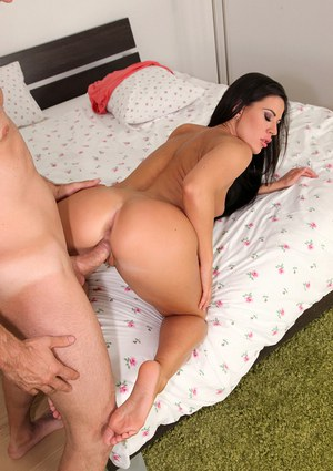 Hardcore ass licking and fucking scene with an amateur brunette Athina