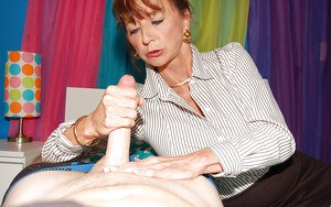 CFNM scene features non nude mature doing handjob and licking cock