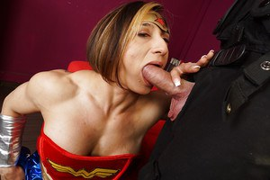 Cosplay scene features Latina bodybuilder with big tits Karyn