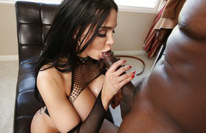 Brunette cutie Amy Anderssen gets fucked with a big cock in an Interracial sex