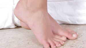 Foot fetish session in close up features long legs of hot babe Magda