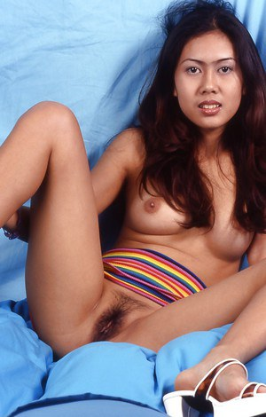 Asian babe with brunette hair demonstrates her ass and legs in panties