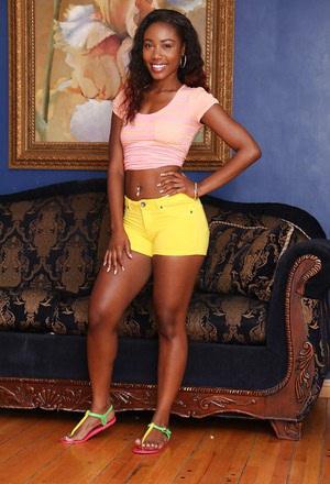 Undressing session with an Ebony teen babe Chanell Heart in sexy panties