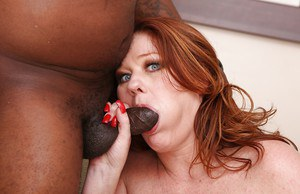 Great blowjob done by a mature cutie Kate Faucett in an Interracial sex