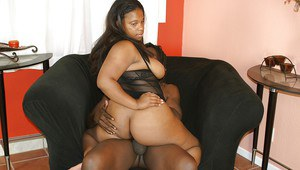 Ebony fatty with a perfect ass Pussy Kat has her holes drilled