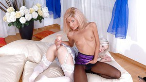 Lesbian foot fetish scene with a tiny tits milf cuties Ioana and Lisa