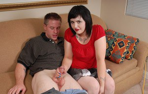 Mature fatty Candi pleases her younger boyfriend with a titjob