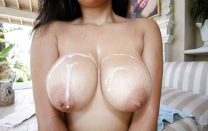 Close up titjob from an Ebony chick with oiled big tits Julie Kay