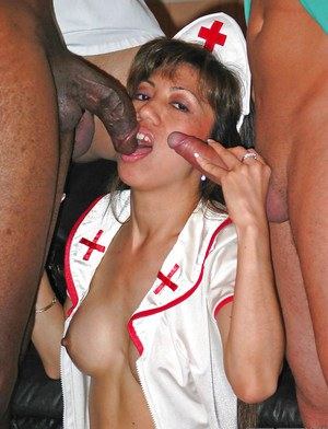 Mature nurse Safire dose blowjob and gets nailed in her uniform