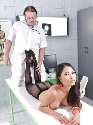 Big tits Asian PussyKat has her pantyhose on while in a foot fetish scene