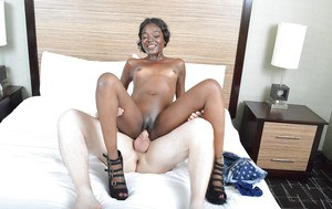 Hot interracial sex with a tiny-titted ebont Raven in close-up scene