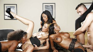 Awesome ebonies are banging with their lovely white dicked boss