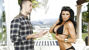 Dark-haired chick Romi Rain is getting load of sperm in her pussy