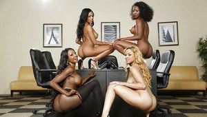 Gang of black beauties are playing with fully naked boobies together