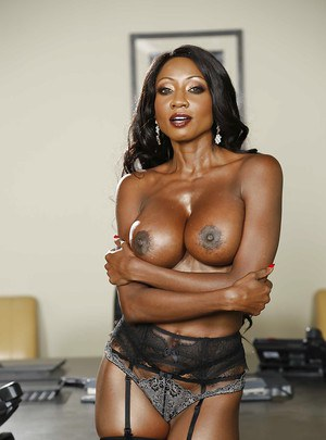 Busty black beast Diamond Jackson takes off her hot lingerie