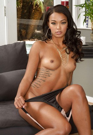 Ebony with ideal skin Harley Dean takes her green dress off so hot