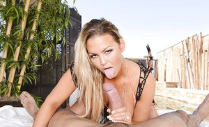Alluring blonde Abbey Brooks was fucked by this tanned hard dick