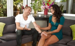 Tanned model Harley Dean is giving a nasty sweet blowjob with spits