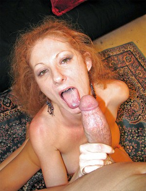 Ugly redhead slut with big fake boobies Annie Body get sperm in face