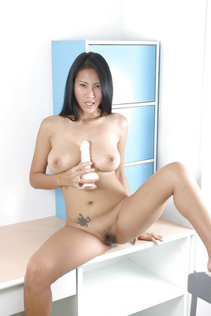 Asian babe with unshaved pussy is sucking her new rubber sextoy