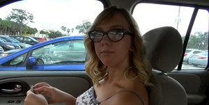 Beauty in glasses Chase is talking and playing with her nipples