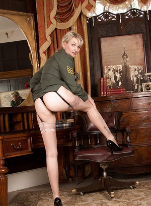 Beauty blonde Roxy Jay is taking off her nice military suite