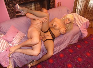 Dick-sucking lady in stocking Tatiana is getting sperm on her tits