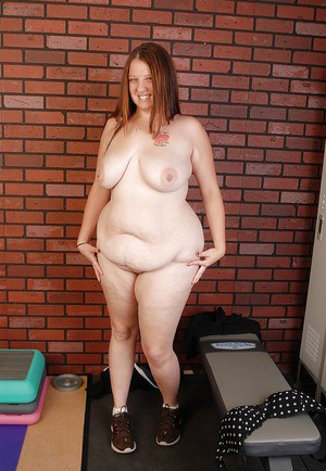 Chubby old woman with tattoos Velvet plays with her saggy boobs