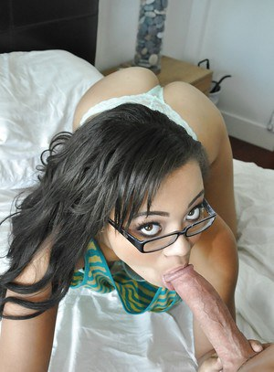 Brunette in glasses Adrian Maya is getting cum on her nice face