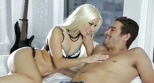 Outstanding blonde Jessie Volt is giving a gorgeous blowjob!