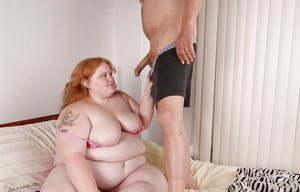 Fatty redhead Ruby gives a blowjob and gets cum in her pussy