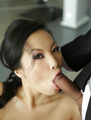 Ladies Asa Akira and Samantha Saint are sucking that Asian dick