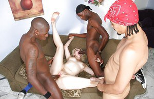 Hardcore blonde Alice Frost is fucking with gang of big black boys
