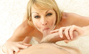 Spicy mommy Shayla Laveaux is sucking and licking these tasty balls