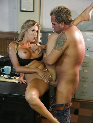 Busty blonde Samantha Saint is being drilled deep in her accurate hole