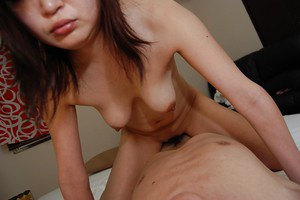 Horny Asian model Akiko Nemoto is giving a blowjob for this small dick