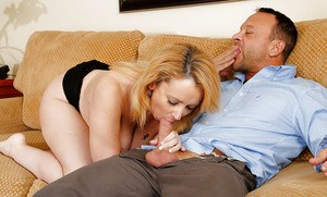 Brandie Sweet is being fucked in her wide-opened mouth and puss