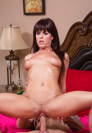 Slutty brunette Rahyndee James is sucking this pretty good dick