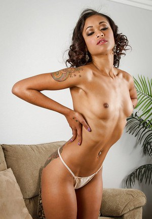 Babe ebony Skin Diamond is touching her cute little hairy pussy