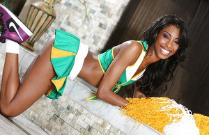Ebony Adriana Malao is taking off her sexy tight cheerleader uniform