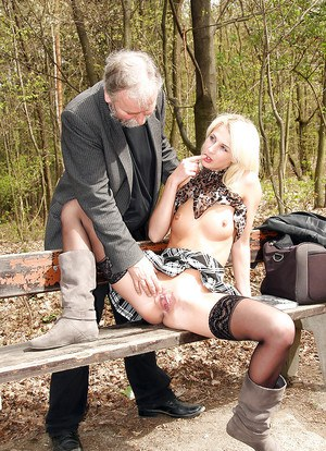 Beautiful blonde with nice shape is banging with oldman in the forest