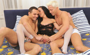 Gina is swallowing two loads of sperm after hardcore face-fucking