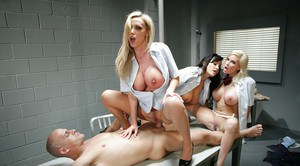 Three slender beauties pornstars are sucking dick of this lucky guy