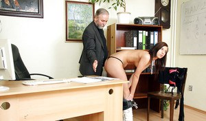 Office secretary is sucking this old man's dick and swallowing sperm